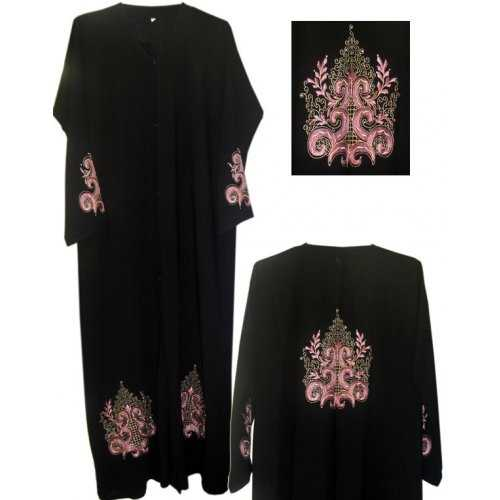 Georgette Abaya with Design (Front Open)